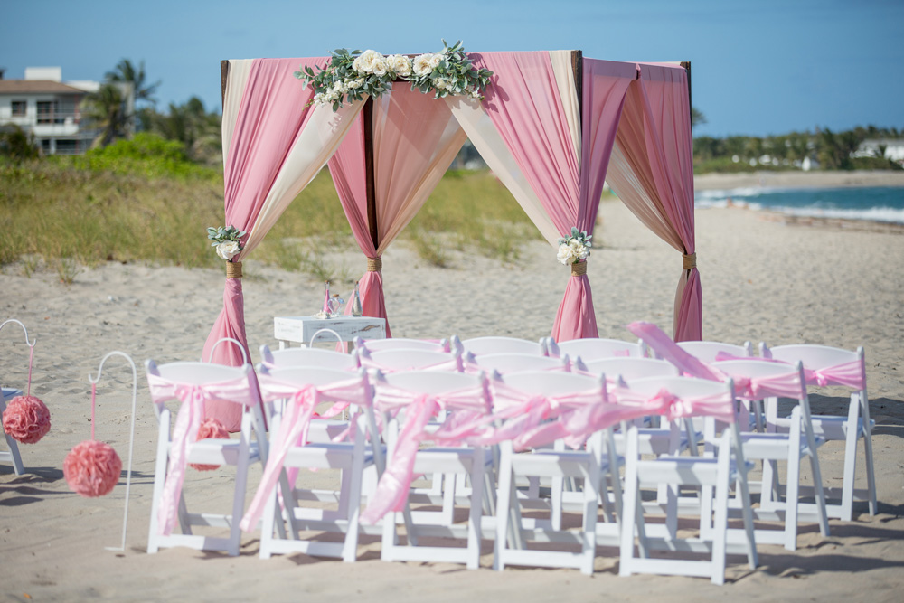 Pink ivory 4-post wooden arbor